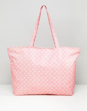 7X Дорожная сумка с принтом пейсли. Цвет: розовый