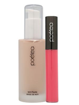 Набор декоративной косметики : тональная основа флюид (бежевый теплый)+блеск для губ. POETEQ. Цвет: розовый, бежевый