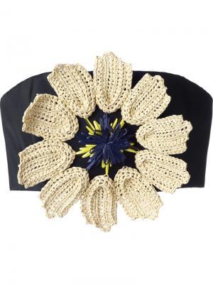 Укороченный топ с цветочным украшением Delpozo. Цвет: чёрный