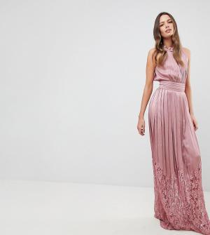 Little Mistress Tall Платье макси с высоким воротом и кружевной юбкой. Цвет: розовый