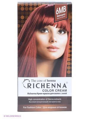 Крем-краска для волос с хной № 6MB (Mahogany) Richenna. Цвет: коричневый