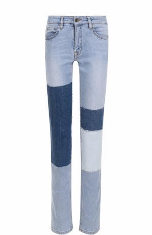 Джинсы прямого кроя с потертостями Victoria, Victoria Beckham. Цвет: голубой