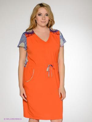 Платье Gemko plus size. Цвет: оранжевый, синий