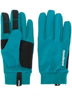 Панельные перчатки с логотипом Patagonia. Цвет: синий
