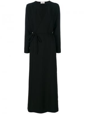 Платье с запахом и V-образным вырезом Daniela Pancheri. Цвет: чёрный
