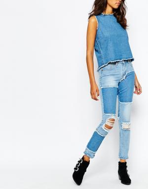 Liquor & Poker Узкие джинсы в винтажном стиле с необработанным краем. Цвет: синий