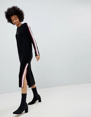 ASOS Трикотажное платье миди с окантовкой в спортивном стиле. Цвет: черный