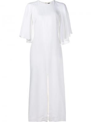 Платье миди с расклешенными рукавами Adam Lippes. Цвет: белый
