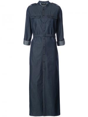 Платье-рубашка с ремнем Vanessa Seward. Цвет: синий