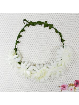 Венок с цветами Bizon. Цвет: бежевый