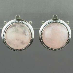 Серьги рондо розовый кварц Бусики-Колечки