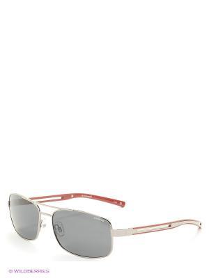 Солнцезащитные очки Polaroid. Цвет: серебристый, красный