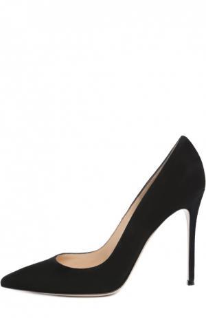 Замшевые туфли Gianvito 105 на шпильке Rossi. Цвет: черный