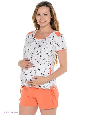 Комплект одежды для беременных и кормящих ФЭСТ. Цвет: белый, оранжевый