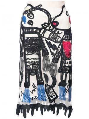 Юбка с бахромой и вышивкой Tsumori Chisato. Цвет: белый