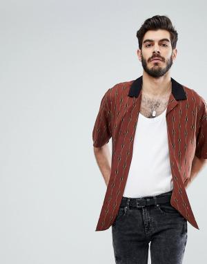 ASOS Рубашка-оверсайз в полоску. Цвет: коричневый