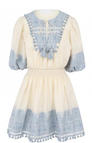 Приталенное хлопковое мини-платье Zimmermann. Цвет: голубой