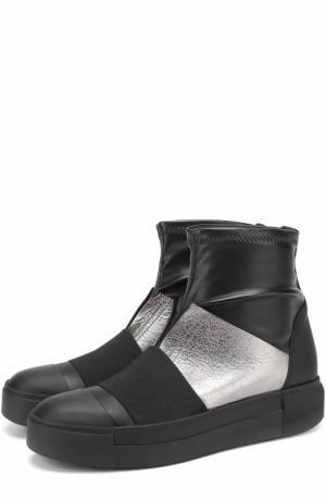 Кожаные ботинки с эластичной вставкой Vic Matie. Цвет: черный