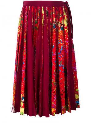 Плиссированная юбка с цветочным принтом Jonathan Cohen. Цвет: красный