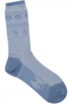 Хлопковые носки с кружевным принтом Antipast. Цвет: голубой