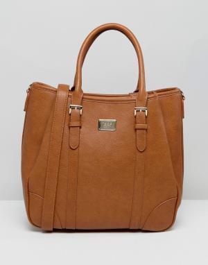 Marc B Большая сумка-хобо со съемным наплечным ремешком. Цвет: рыжий
