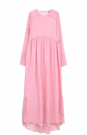 Шелковое платье-макси с круглым вырезом Jupe by Jackie. Цвет: розовый