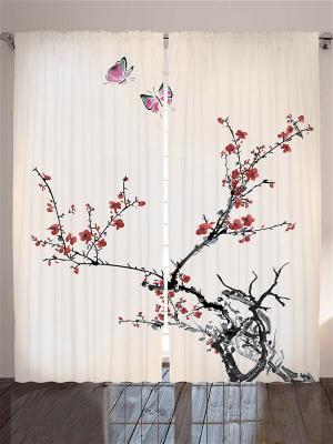 Плотные фотошторы Бабочки над веткой сакуры, 290x265 см Magic Lady. Цвет: бежевый, красный, розовый, серый, черный