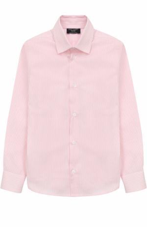 Хлопковая рубашка в мелкую полоску Dal Lago. Цвет: розовый