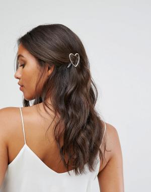 Pieces Заколка для волос в форме сердца. Цвет: золотой
