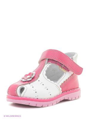 Босоножки Детский скороход. Цвет: белый, розовый