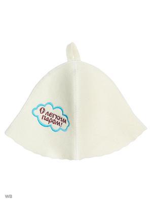 Шапка для бани с вышивкой в косметичке легким паром Метиз. Цвет: белый, голубой