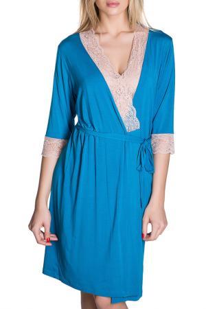 Халат Rose&Petal Homewear. Цвет: морская волна