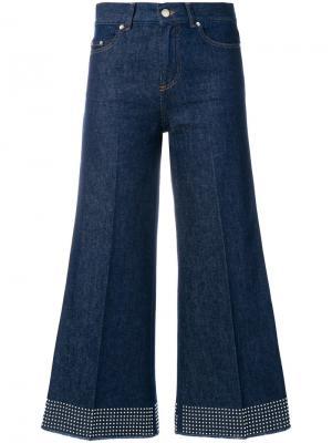Расклешенные брюки с заклепками Red Valentino. Цвет: синий