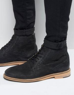 Frank Wright Черные кожаные ботинки-броги. Цвет: черный