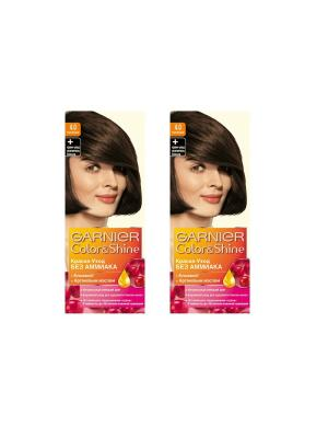 Краска-уход для волос Color&Shine без аммиака, 4.0, Каштановый, 2 шт. Garnier. Цвет: коричневый