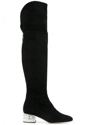 Сапоги по колено на декорированном каблуке Sebastian. Цвет: чёрный