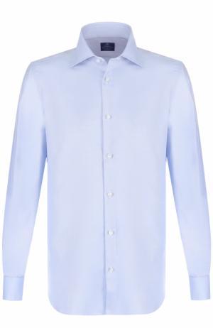 Хлопковая сорочка с воротником кент Luigi Borrelli. Цвет: синий