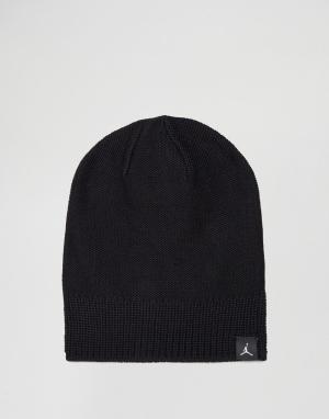 Jordan Черная шапка‑бини Nike 801769-010. Цвет: черный