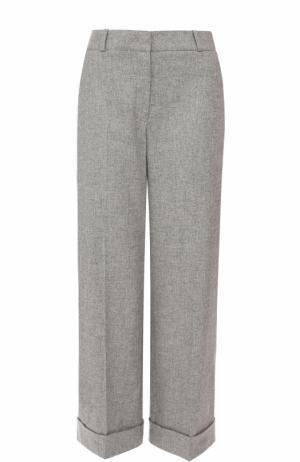Укороченные брюки из смеси кашемира и шелка Loro Piana. Цвет: светло-серый