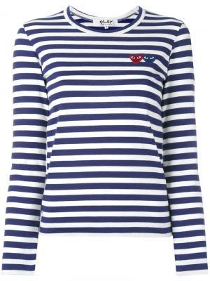 Striped longlseeved T-shirt Comme Des Garçons Play. Цвет: синий