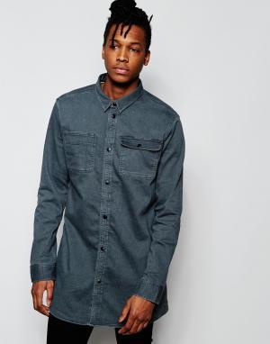 D.I.E Серая удлиненная джинсовая рубашка классического кроя . Workman. Цвет: серый