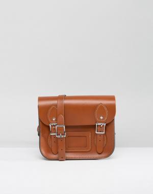 Leather Satchel Company Маленькая светло-коричневая сумка сэтчел. Цвет: рыжий