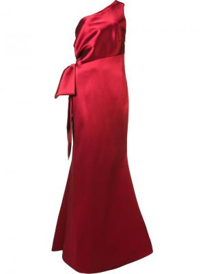 Вечернее платье на одно плечо Sachin And Babi. Цвет: красный