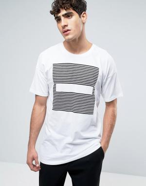 Dr Denim Белая удлиненная футболка с полосками Marlon. Цвет: белый