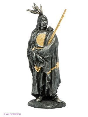 Статуэтка Индеец с ружьем Veronese. Цвет: темно-серый, золотистый