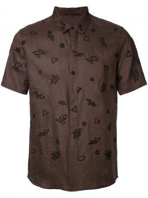 Рубашка с комбинированным принтом Jupe By Jackie. Цвет: коричневый
