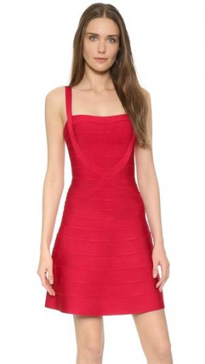 Платье-трапеция Crisscross Herve Leger. Цвет: красный