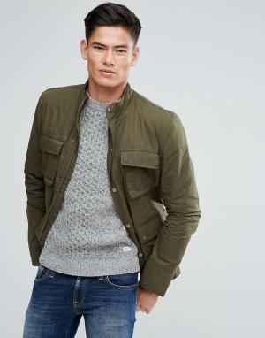 Jack Wills Куртка оливкового цвета с четырьмя карманами Kirkconnel. Цвет: зеленый