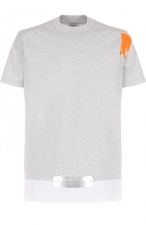 Хлопковая футболка с отделкой Dirk Bikkembergs. Цвет: серый