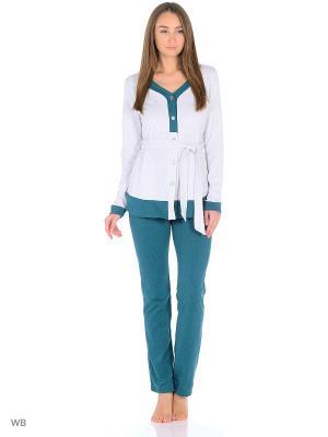 Домашний костюм ( кофта, брюки). HomeLike. Цвет: зеленый, серый